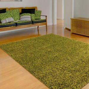 Retro Shaggy Plain Lime Runner by Rug Style
