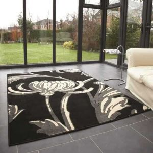 Element Prime Loretta Grey/Black Floral Rug by Flair Rugs