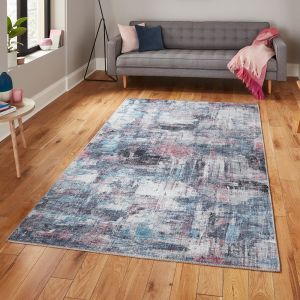 Rio G4719 Pink Blue Rug by Think Rugs