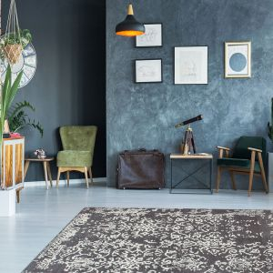 River 130 Grey Anthracite Traditional Rug by Kayoom