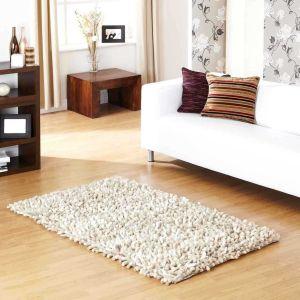 Rocky Beige Designer Plain Shaggy Wool Rug by Prestige
