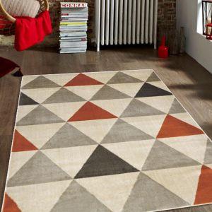 Roma Orange Geometric Rug by Floorita