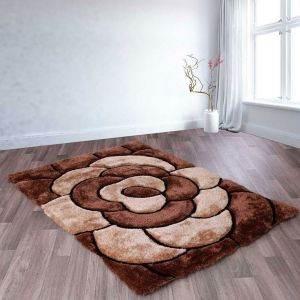 Rose Choc 3D Shaggy Rug by Ultimate Rug