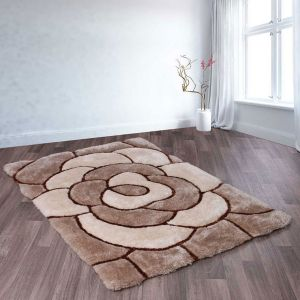 Rose Natural 3D Shaggy Rug by Ultimate Rug