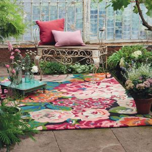 Rose & Peony 45005 Cerise Hand Tufted Wool Rug by Sanderson