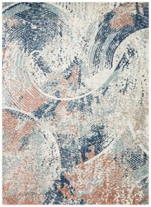 Rossa ROS05 Ivory Blue Rust Abstract Rug by Concept Looms