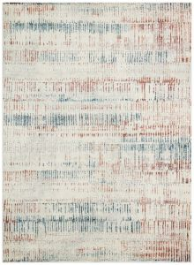 Rossa ROS11 Ivory Blue Rust Abstract Rug by Concept Looms