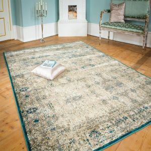 Rossini Creme-Teal Rug by Luxor Living