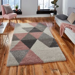 Royal Nomadic 5741 Cream Pink Shaggy Rug by Think Rugs