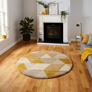 Royal Nomadic 7611 Beige Ochre Shaggy Circle Rug by Think Rugs
