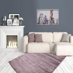 Saint Lucia Castries Pastel Violet Shaggy Rug by Kayoom