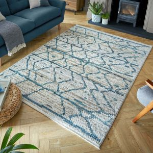 Santiago Neruda Natural Blue Rug by Flair Rugs