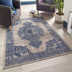 Saville Blue Grey Traditional Rug by Origins