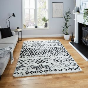 Scandi Berber G271 White Black Shaggy Rug by Think Rugs