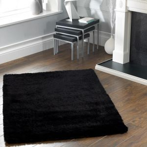 Shimmer Black Polyester Shaggy Rug by Origins
