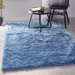 Shimmer Blue Polyester Shaggy Rug by Origins