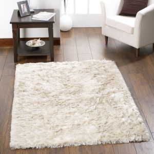 Shimmer Champagne Polyester Shaggy Rug by Origins