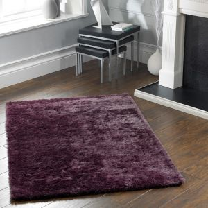 Shimmer Mauve Polyester Shaggy Rug by Origins