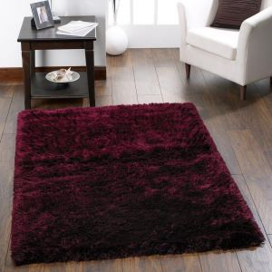 Shimmer Purple Polyester Shaggy Rug by Origins