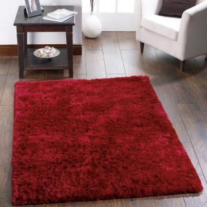 Shimmer Red Polyester Shaggy Rug by Origins
