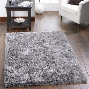 Shimmer Silver Polyester Shaggy Rug by Origins