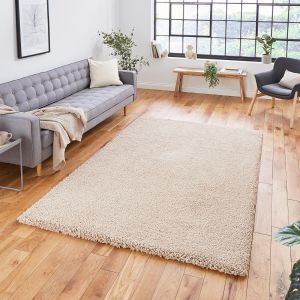 Sierra 9000 Camel Plain Shaggy Rug by Think Rugs
