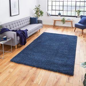 Sierra 9000 Dark Blue Plain Shaggy Rug by Think Rugs