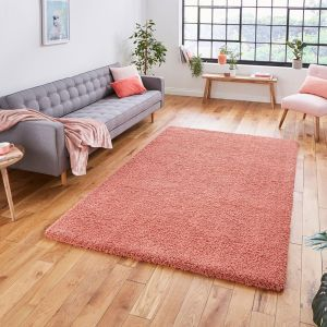 Sierra 9000 Peach Plain Shaggy Rug by Think Rugs