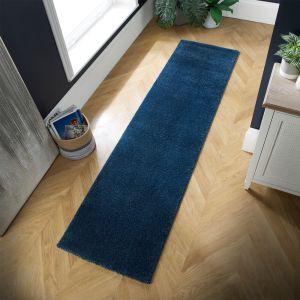 Sleek Denim Blue Plain Shaggy Rug by Flair Rugs