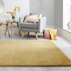 Sleek Golden Ochre Plain Shaggy Rug by Flair Rugs