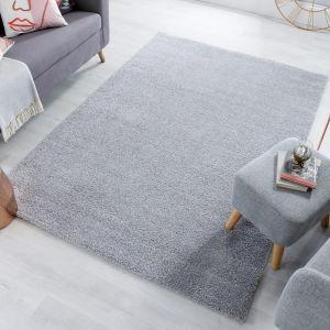 Sleek Grey Plain Shaggy Rug by Flair Rugs
