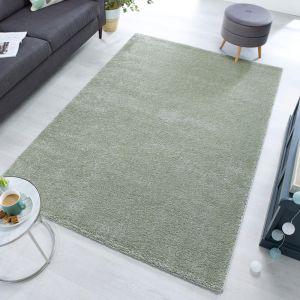 Sleek Sage Green Plain Shaggy Rug by Flair Rugs