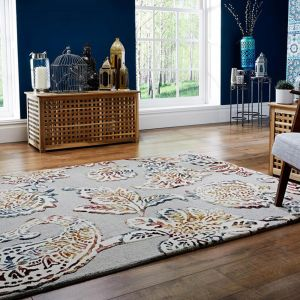 Soho Sirius Grey/Multi Wool Rug by Flair Rugs