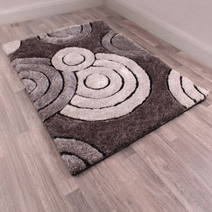 Spiral Charcoal 3D Shaggy Rug by Ultimate Rug