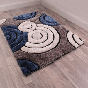 Spiral Navy 3D Shaggy Rug by Ultimate Rug