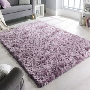 Splendour Shadow Mauve Plain Shaggy Rug by Flair Rugs