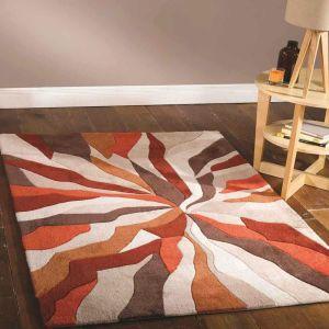 Infinite Splinter Orange Abstract Circle Rug by Flair Rugs