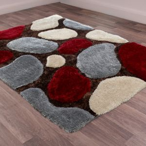 Stepping Stones Grey Red Rug by Ultimate Rug