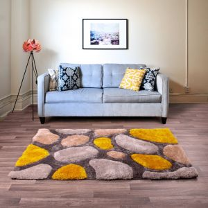 Stepping Stones Silver Ochre Rug by Ultimate Rug