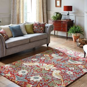 Strawberry Thief 027700 Crimson Hand Tufted Wool Rug by Morris & CO.