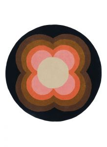 Sunflower 060005 Pink Wool Circle Rug by Orla Kiely
