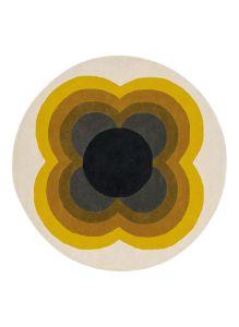 Sunflower 060005 Yellow Wool Circle Rug by Orla Kiely