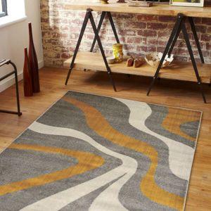 Swirl Grey Yellow Abstract Rug by Floorita