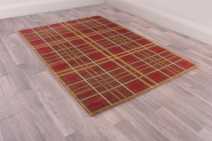 Tartan Brown Chequered Rug by Ultimate Rug