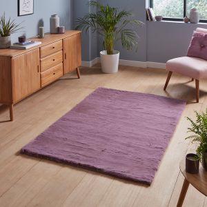 Teddy Lavender Plain Shaggy Rug by Think Rugs