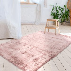 Tender 125 Powder Pink Plain Shaggy Rug by Kayoom