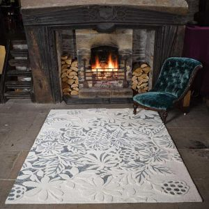 Textures Gold Loxley White/Grey Wool Rug by Flair Rugs