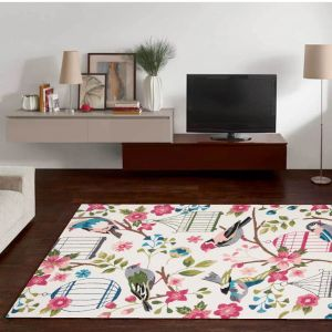 Rosetta-GF-019-103 White Multi Rug by Theko