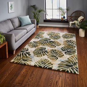 Think Rugs Tropics 6097 Cream/Green Rug