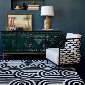 Turnabouts Black 039205 Wool Rug by Florence Broadhurst